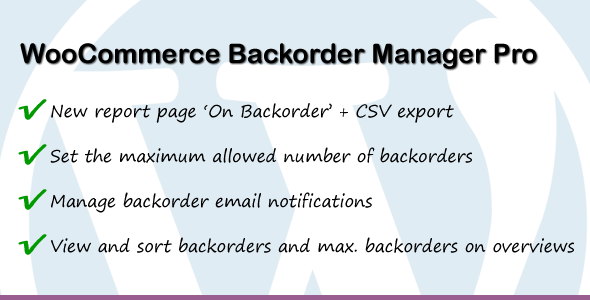 WooCommerce Backorder Manager Pro - CodeCanyon Item for Sale