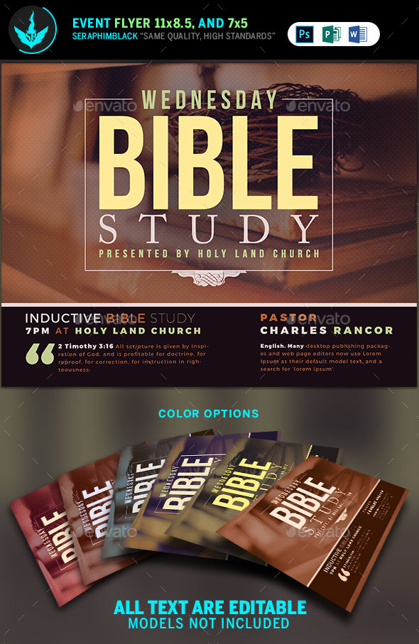 Bible Study Church Flyer Template By Seraphimblack Graphicriver
