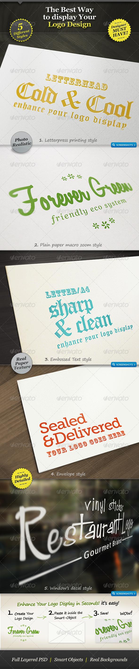 5 Realistic Logo Mockups - Smart Template Display - Logo Product Mock-Ups