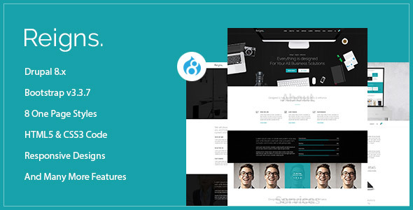 Reigns - Professional One Page Drupal 8 Theme - Corporate Drupal