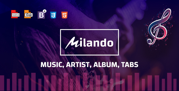 Milando – Music Portal With Track Playback Online Store and Musical Staff Multi Color HTML Template