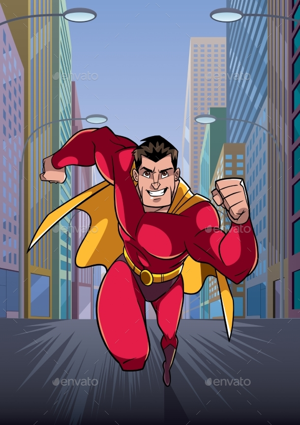 Superhero Running in City - People Characters