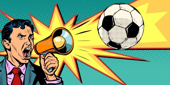 Businessman with Megaphone the Fan of a Football - Sports/Activity Conceptual
