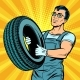 Male Car Mechanic with Wheel