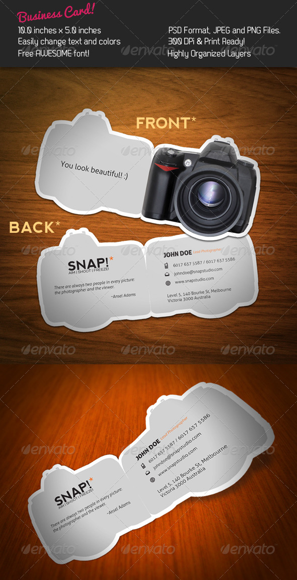 Snap business card by kaixer graphicriver snap business card industry specific business cards colourmoves