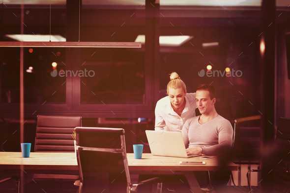young designers in the night office - Stock Photo - Images