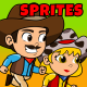 4 Cowboys 2D Game Characters Sprites Pack - GraphicRiver Item for Sale