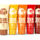 Row ofSun screen cream, oil and lotion containers with different - PhotoDune Item for Sale