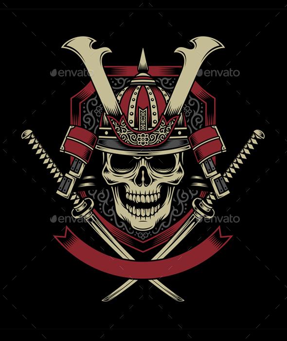 Samurai warrior skull with crossed katana swords people characters