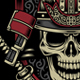 Samurai Warrior Skull with Crossed Katana Swords - GraphicRiver Item for Sale