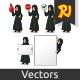 Set of Arab Businesswoman in Black Dress Holding Sign Board