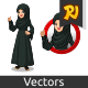 Set of Arab Businesswoman in Black Dress Inside The Circle Logo Concept