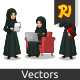 Set of Arab Businesswoman in Black Dress Working on Gadgets