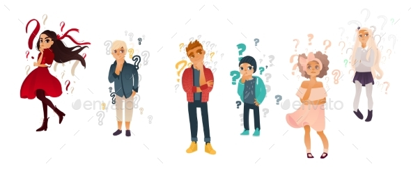 Vector Cartoon People with Qestions Thinking Set - Characters Vectors