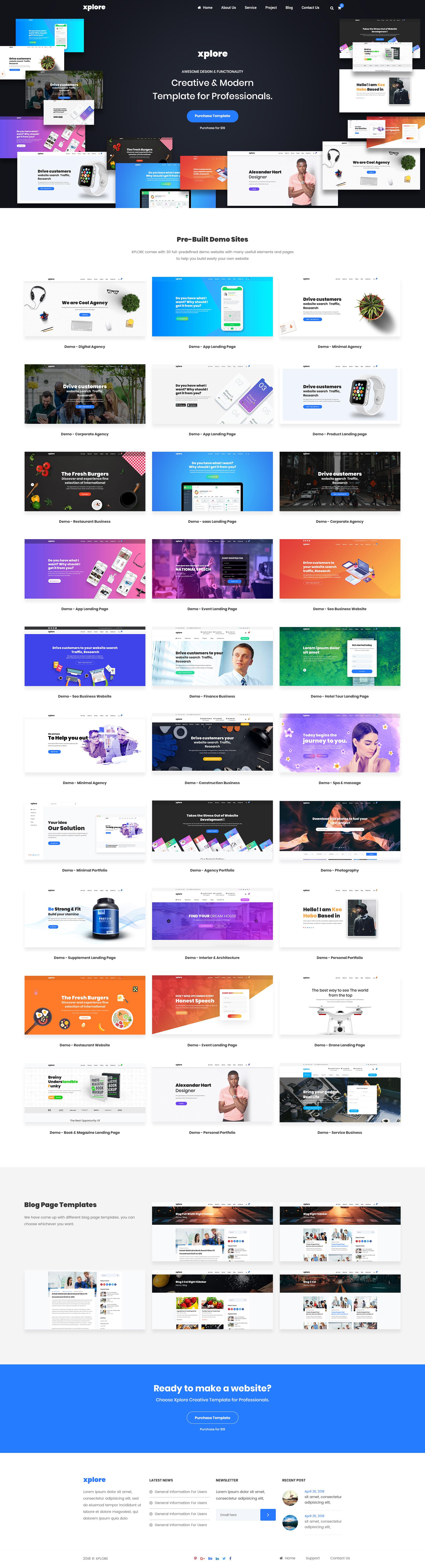 Xplore multipurpose website business psd template by shohag4y image set01 demog maxwellsz