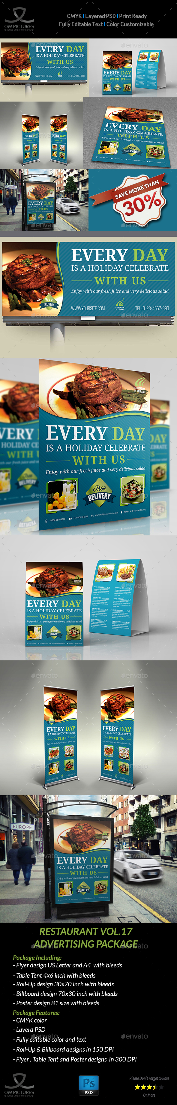 Restaurant Advertising Bundle Vol.17 - Miscellaneous Print Templates