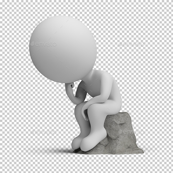 3D Small People - Thinker - Characters 3D Renders