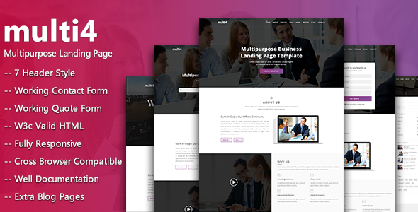 multi4  - Multipurpose Business Landing Page - Corporate Site Templates