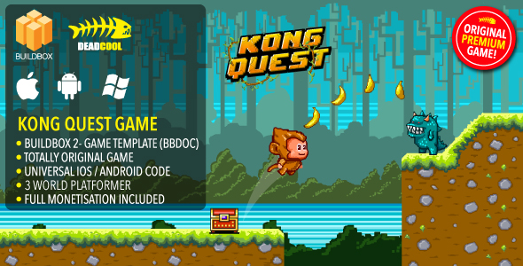 Kong Quest - BuildBox 2 Game Template Document iOS            Nulled
