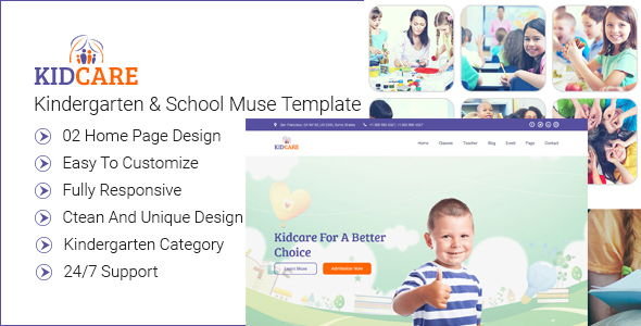 Kidcare-kindergarten & School Muse Template - Muse Templates