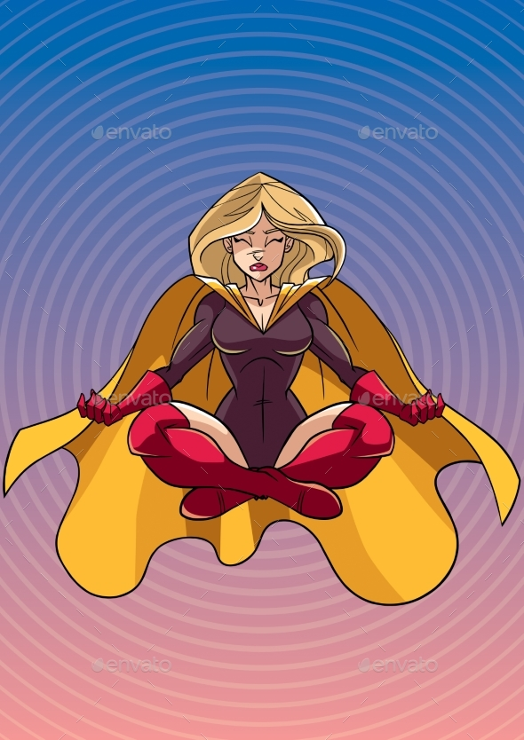 Superheroine Meditating with Background - People Characters