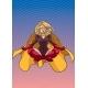 Superheroine Meditating with Background
