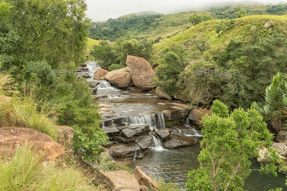 Cascades in the Mahai River in the Kwazulu-Natal Drakensberg - Stock Photo - Images