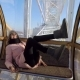 Girl Having Fun in the Cockpit of the Ferris Wheel Waving Her Legs - VideoHive Item for Sale