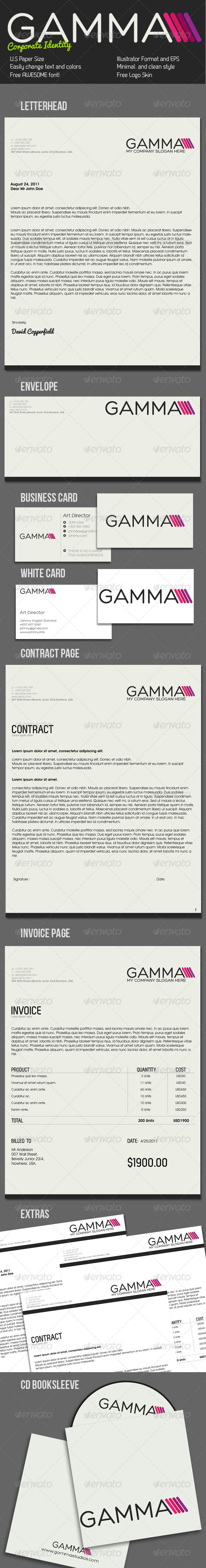 Gamma Clean Corporate Identity - Stationery Print Templates