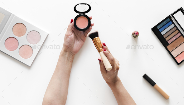 Beauty blogger testing cosmetics - Stock Photo - Images
