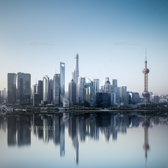 shanghai skyline in morning with reflection - Stock Photo - Images