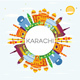 Karachi Skyline with Color Landmarks, Blue Sky and Copy Space