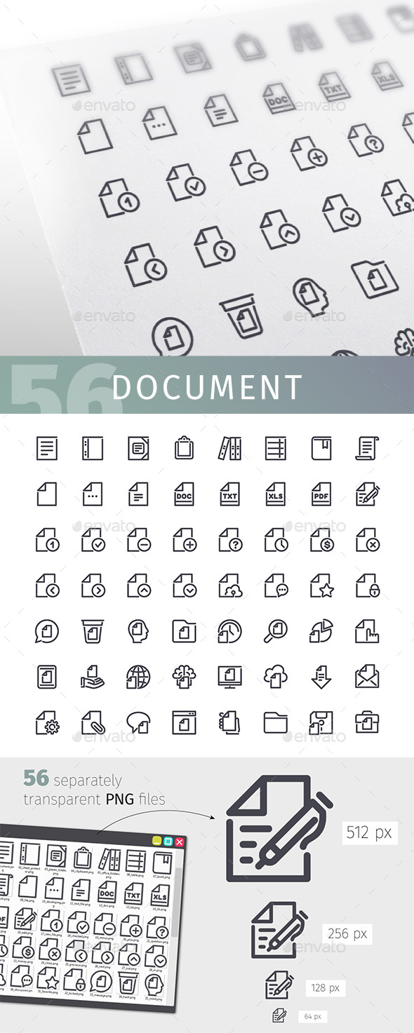 Document Line Icons Set - Business Icons