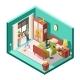 Girl or Woman Bedroom Vector Illustration