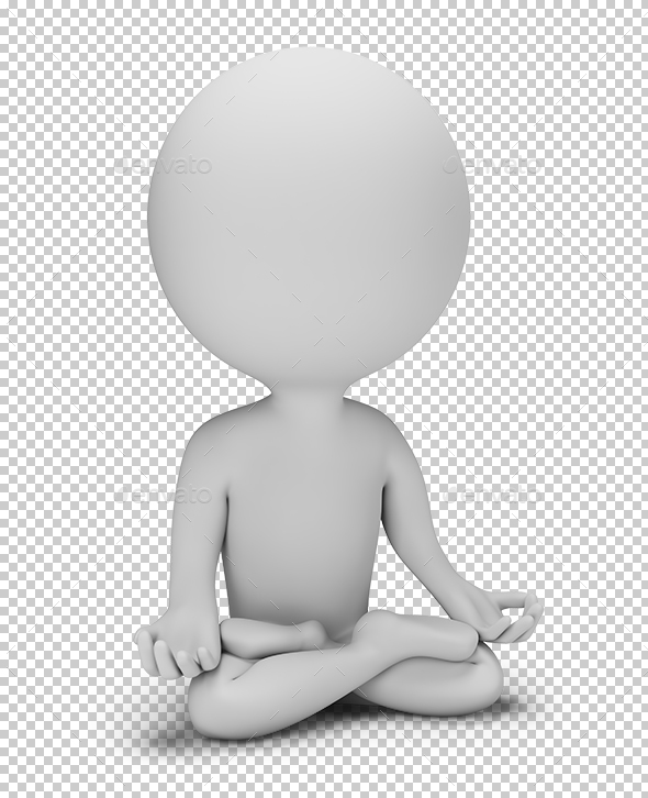 3D Small People - Meditation Pose - Characters 3D Renders