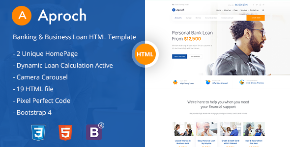 Aproach - Banking & Business Loan Bootstrap-4 HTML Template - Business Corporate
