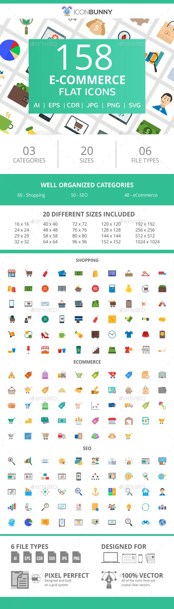 158 E-Commerce Flat Icons - Icons