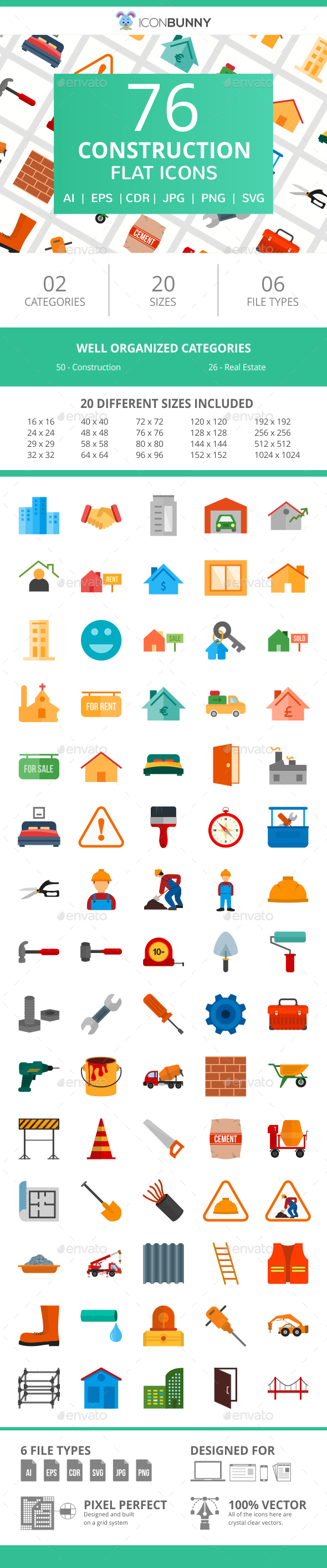 76 Construction Flat Icons - Icons