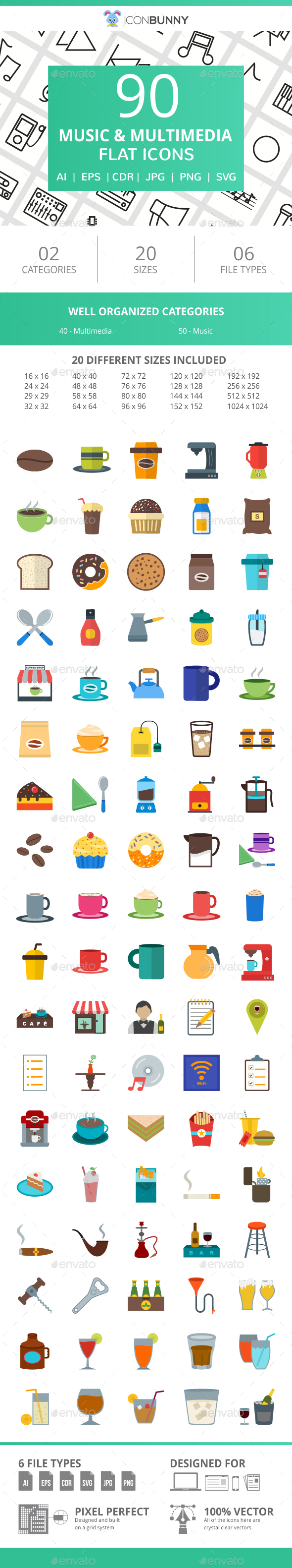 90 Coffee & Cafe Flat Icons