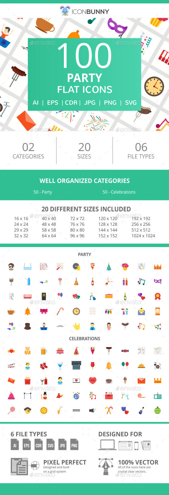 100 Party Flat Icons - Icons