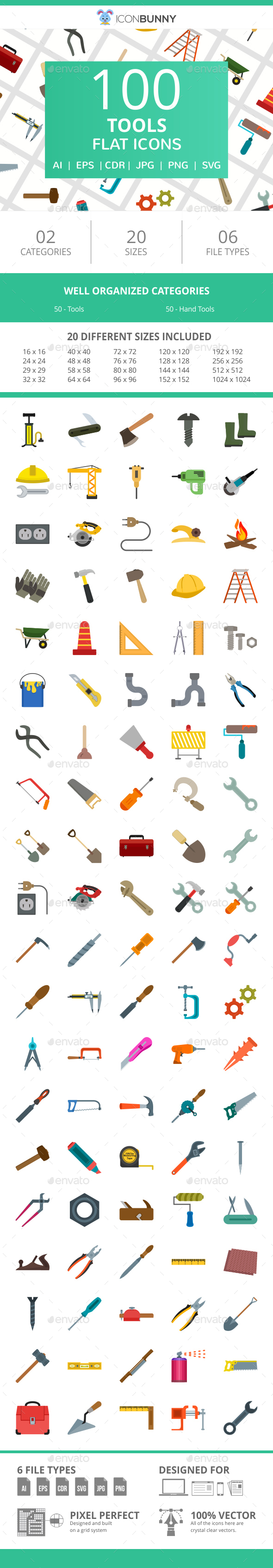 100 Tools Flat Icons - Icons