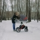 Side View of a Young Mother Walking with a Baby Stroller in Winter Park - VideoHive Item for Sale