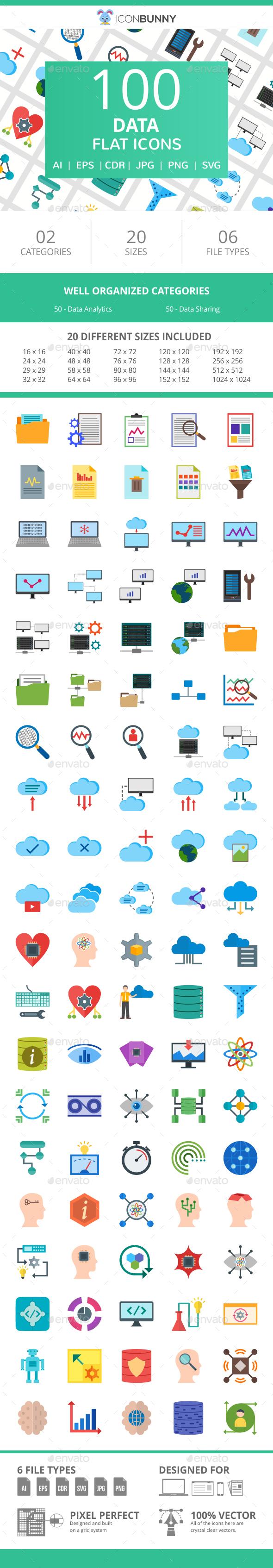 100 Data Flat Icons - Icons