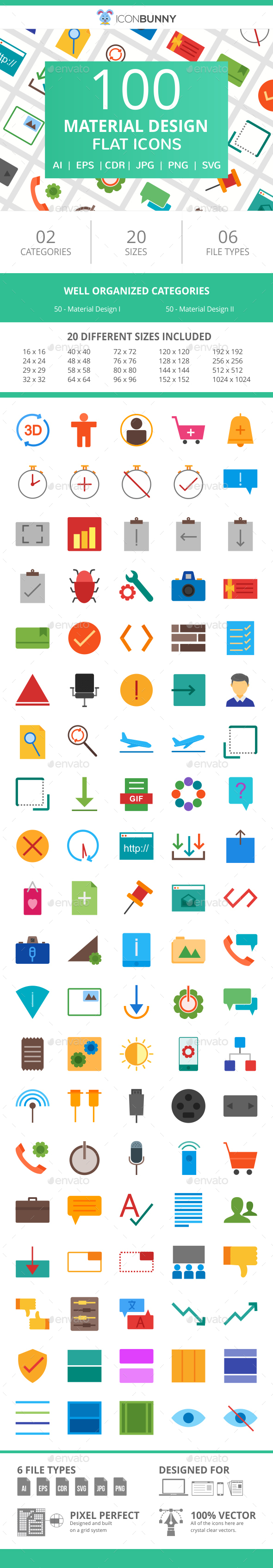 100 Material Design Flat Icons - Icons