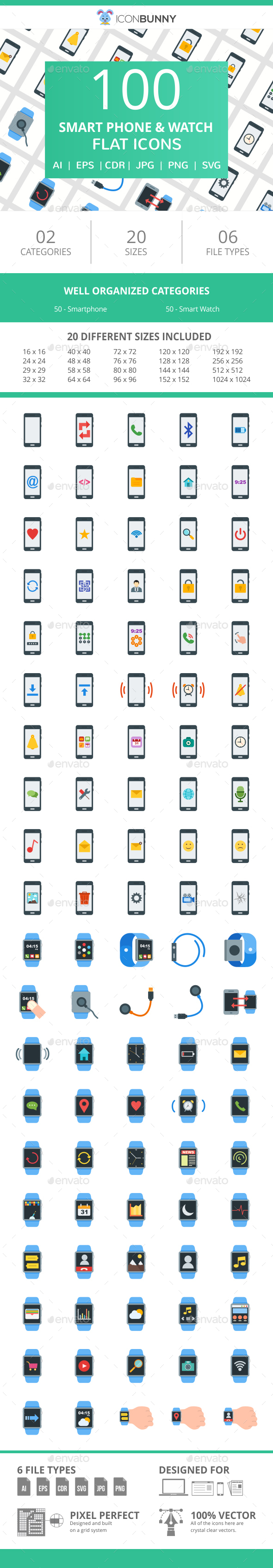100 Smartphone & Smartwatch Flat Icons