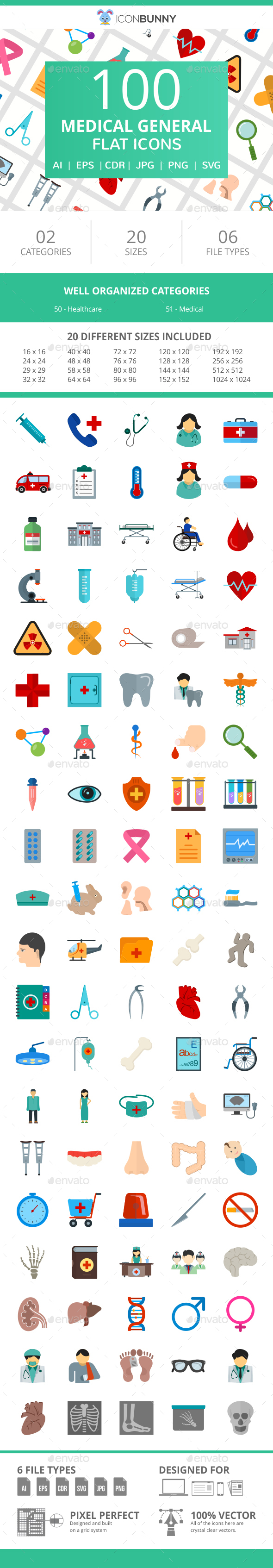 100 Medical General Flat Icons - Icons