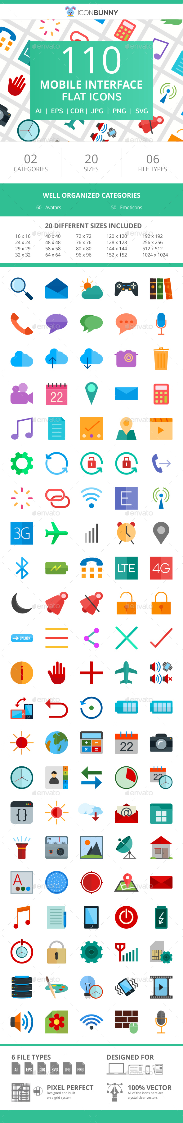110 Mobile Interface Flat Icons - Icons