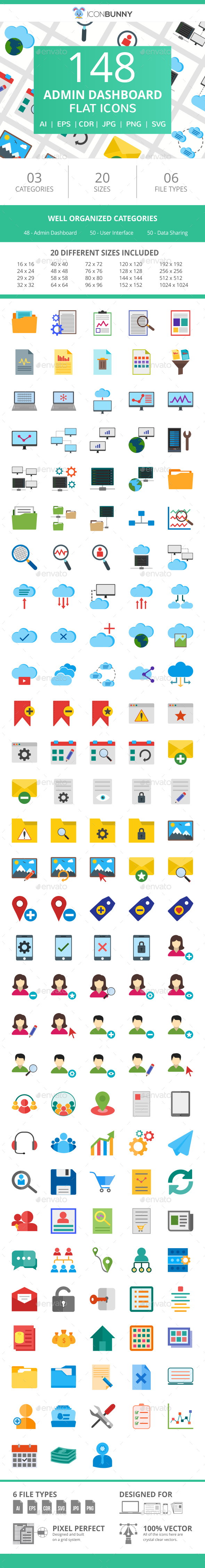 148 Admin Dashboard Flat Icons - Icons