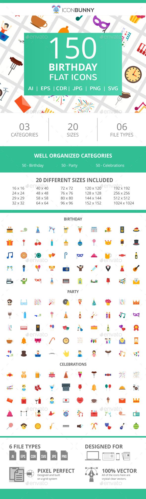 150 Birthday Flat Icons - Icons