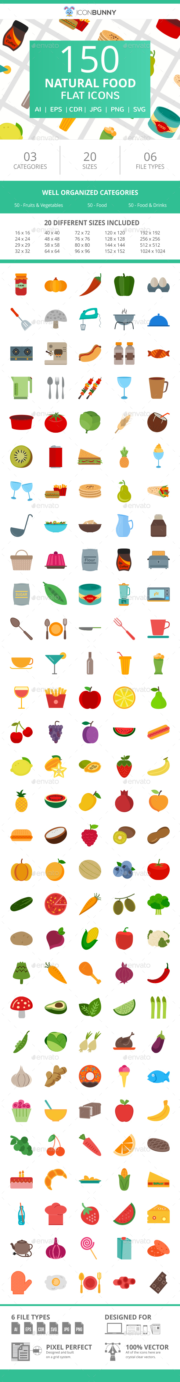 150 Natural Food Flat Icons - Icons